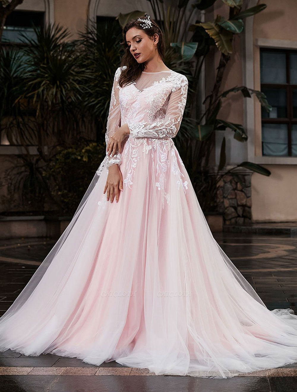 Customize Wedding Gowns With Train A-Line Long Sleeves Satin Fabric Jewel Neck Bridal Gowns