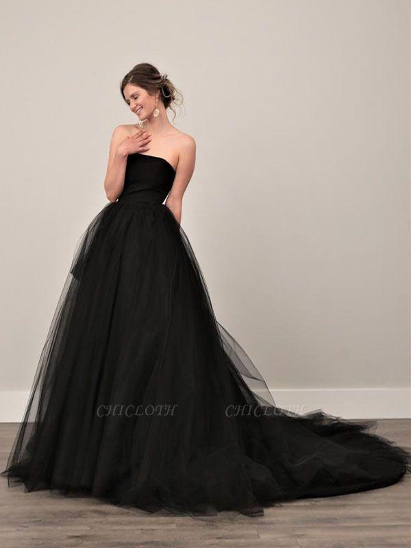 Black Wedding Gownses A-Line Strapless Pleated Taffeta Tulle Chapel Train Wedding Dresses