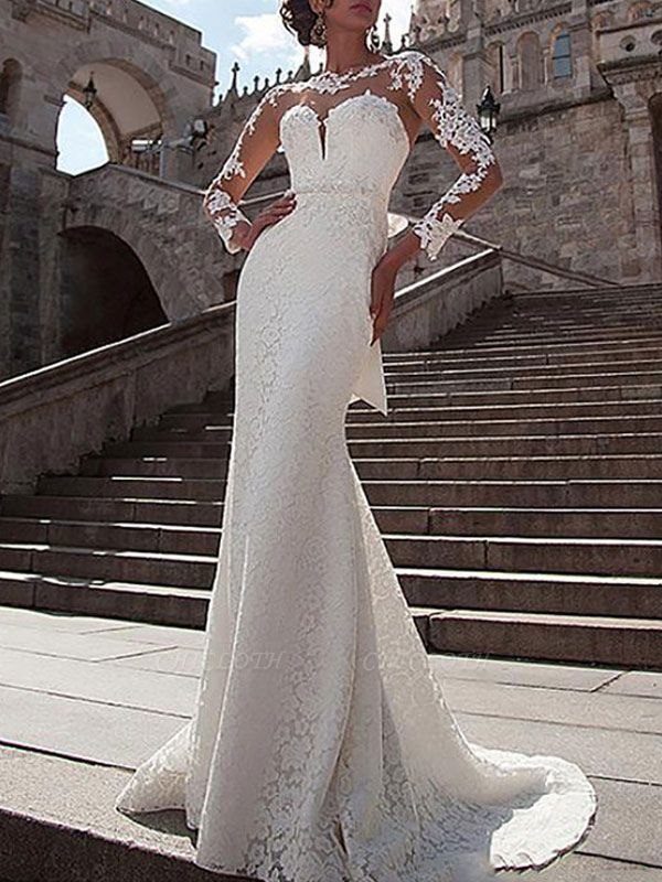 Wedding Dresses Lace Illusion Neck Long Sleeves Mermaid Bridal Gowns With Court Train