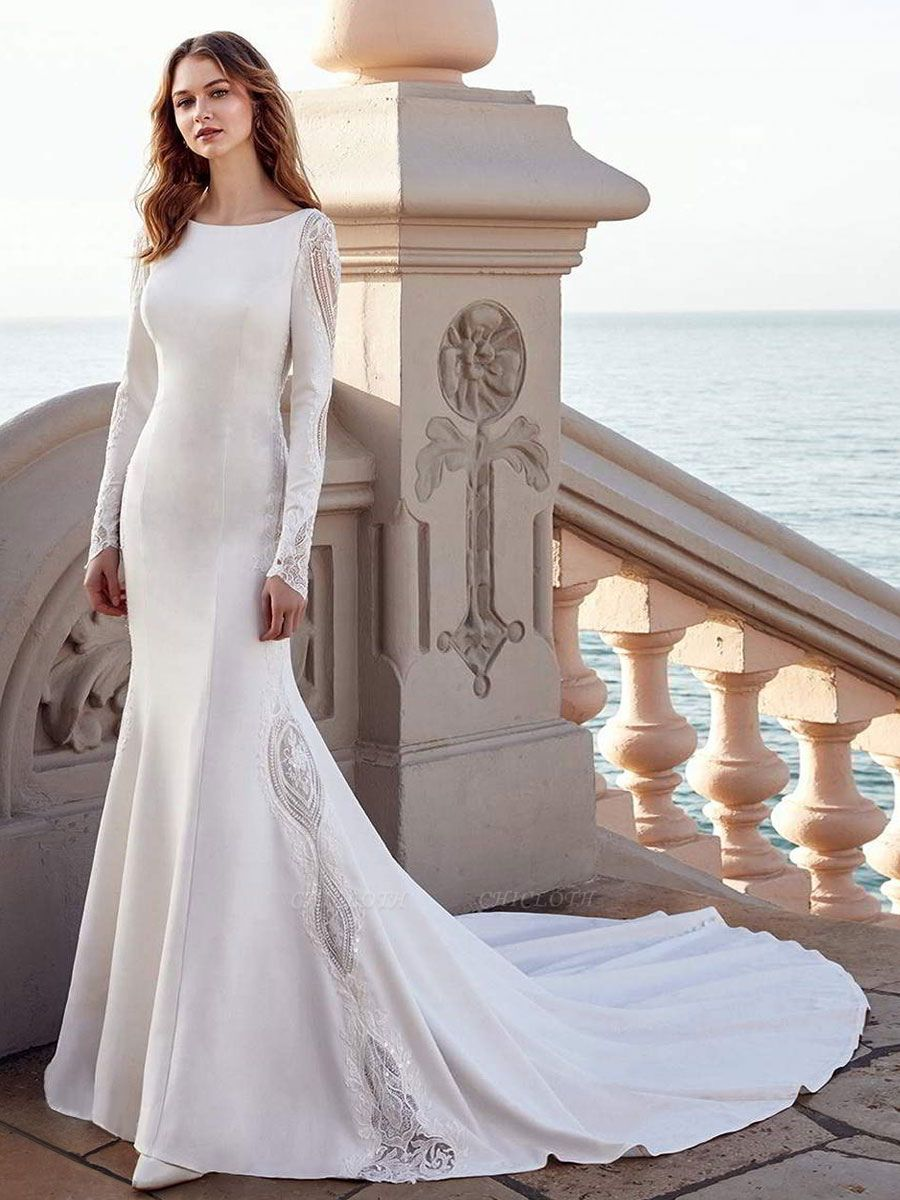 Wedding Gowns Mermaid Dress Bateau Neck Long Sleeves Natural Waist With Train Bridal Gowns