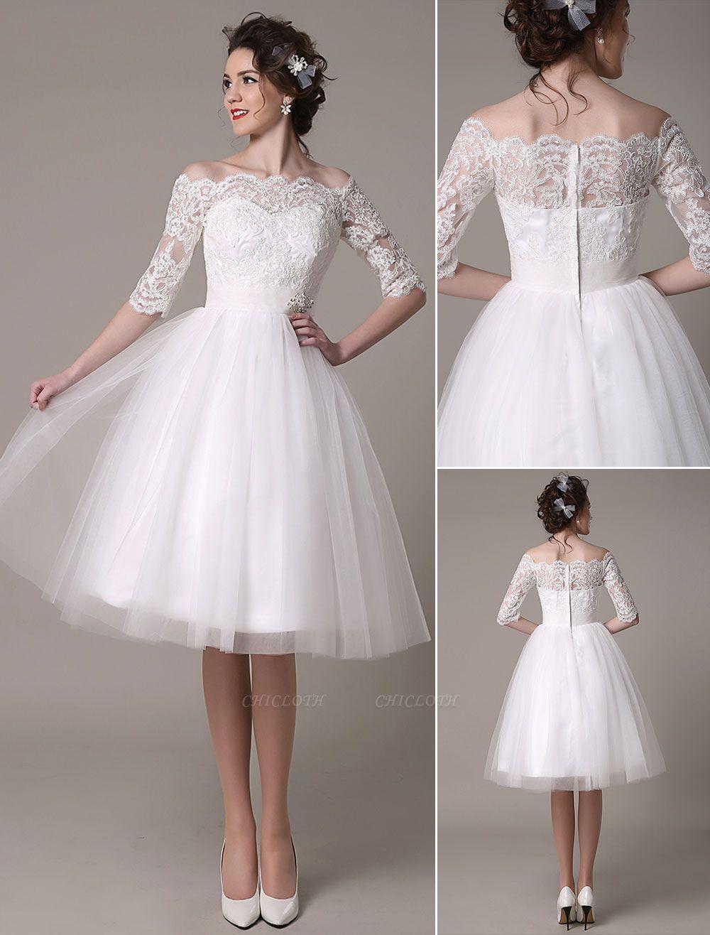 Lace Bridal Dresses 2021 Short Off The Shoulder A Line Knee Length Waist Rhinestone Bridal Dress Exclusive