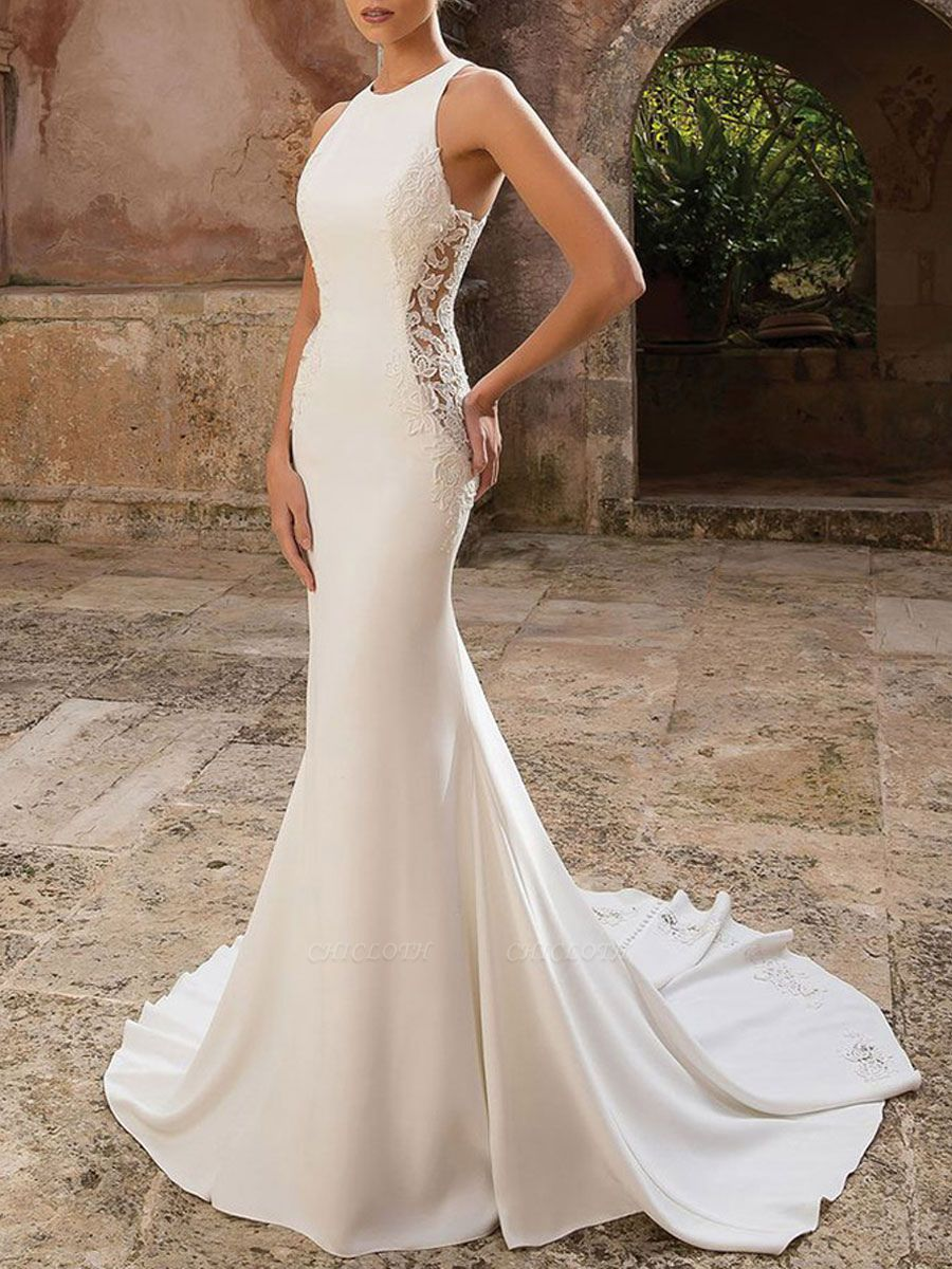 Vintage Wedding Dress Lycra Spandex Jewel Neck Sleeveless Lace Mermaid Bridal Gowns