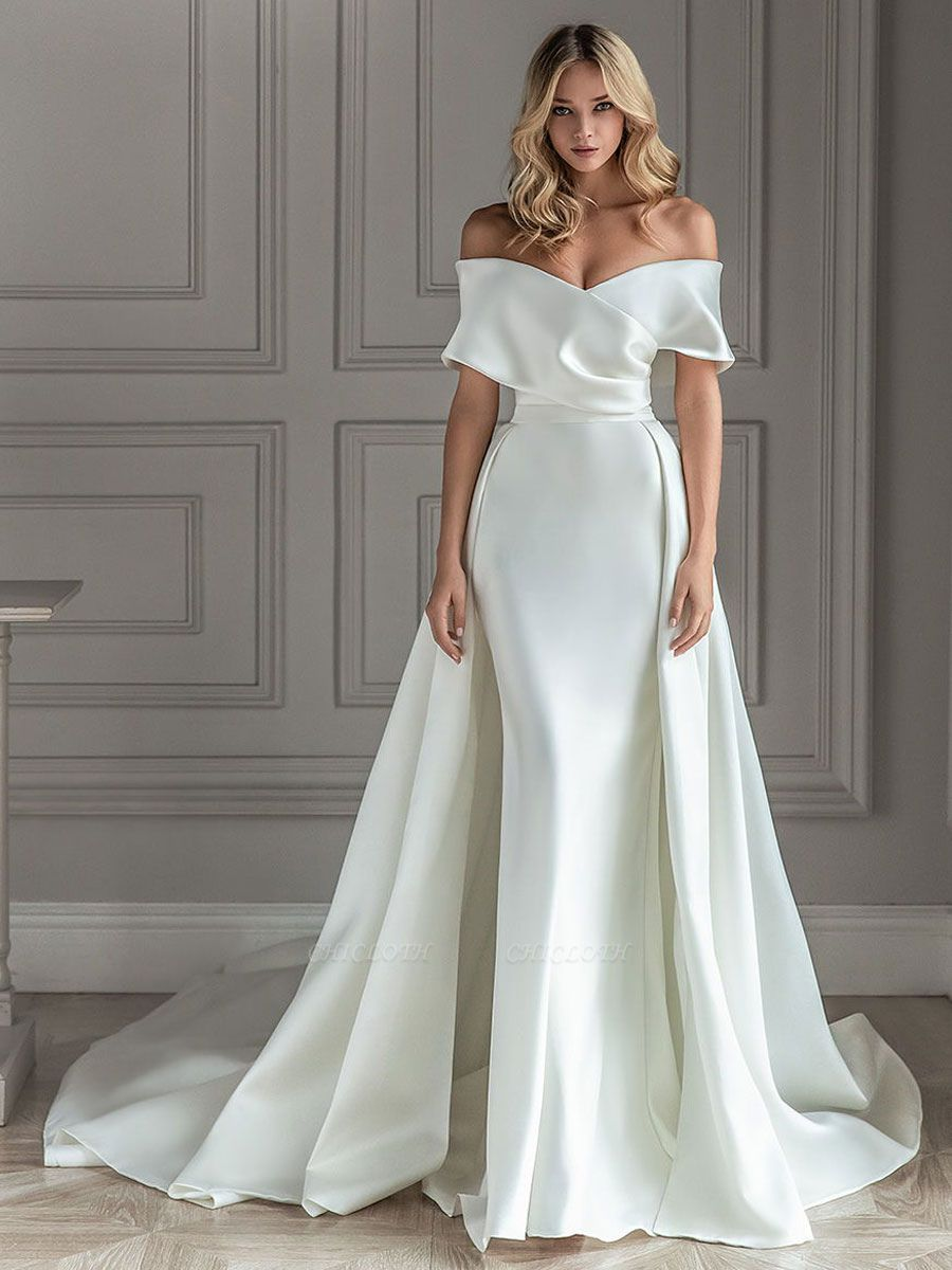 White Vintage Wedding Dresses With Train Satin Off The Shoulder Wedding Dresses Pleated Mermaid Bridal Gowns