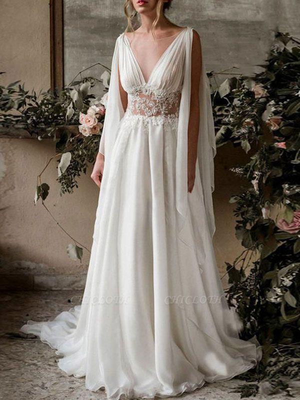 Boho Bridal Dresses 2021 Chiffon V Neck High Waist Roman Drapery Sleeve Bridal Gown