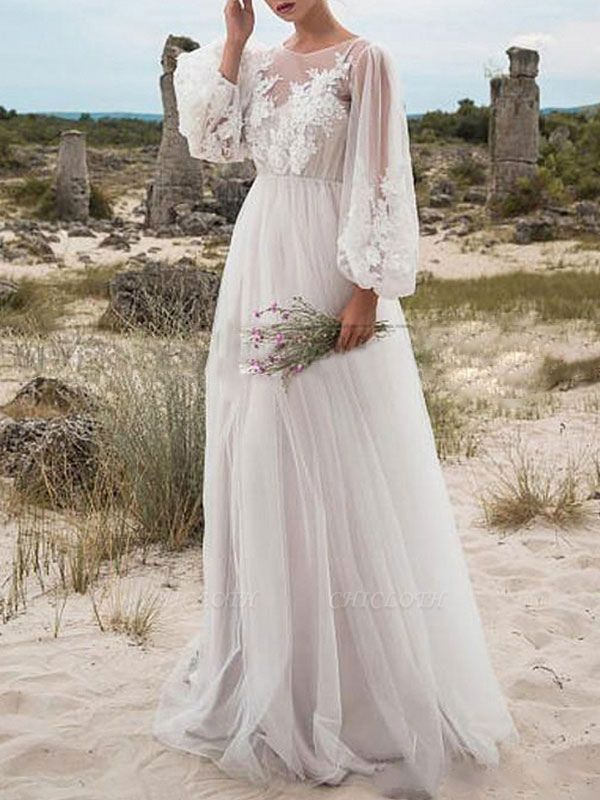Cheap Wedding Dresses A Line Tulle Jewel Neck Long Sleeves Lace Bridal Gowns