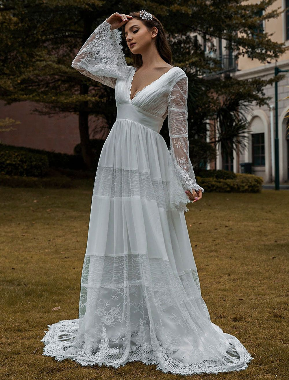 Wedding Gowns Boho Wedding Dress Long Sleeves Lace V-Neck Lace Chiffon Wedding Gowns Exclusive