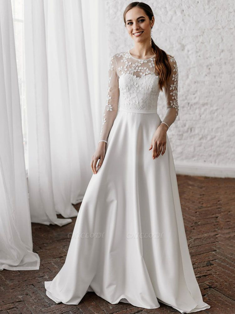 White Cheap Wedding Dresses A-Line Illusion Neckline Long Sleeves Pearls Trainsatin Fabric Lace Bridal Gowns