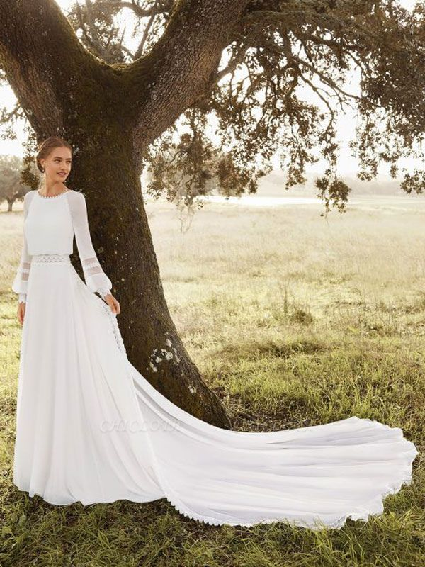 Ivory Simple Wedding Gowns With Train Chiffon Jewel Neck Long Sleeves Lace A Line Bridal Gowns