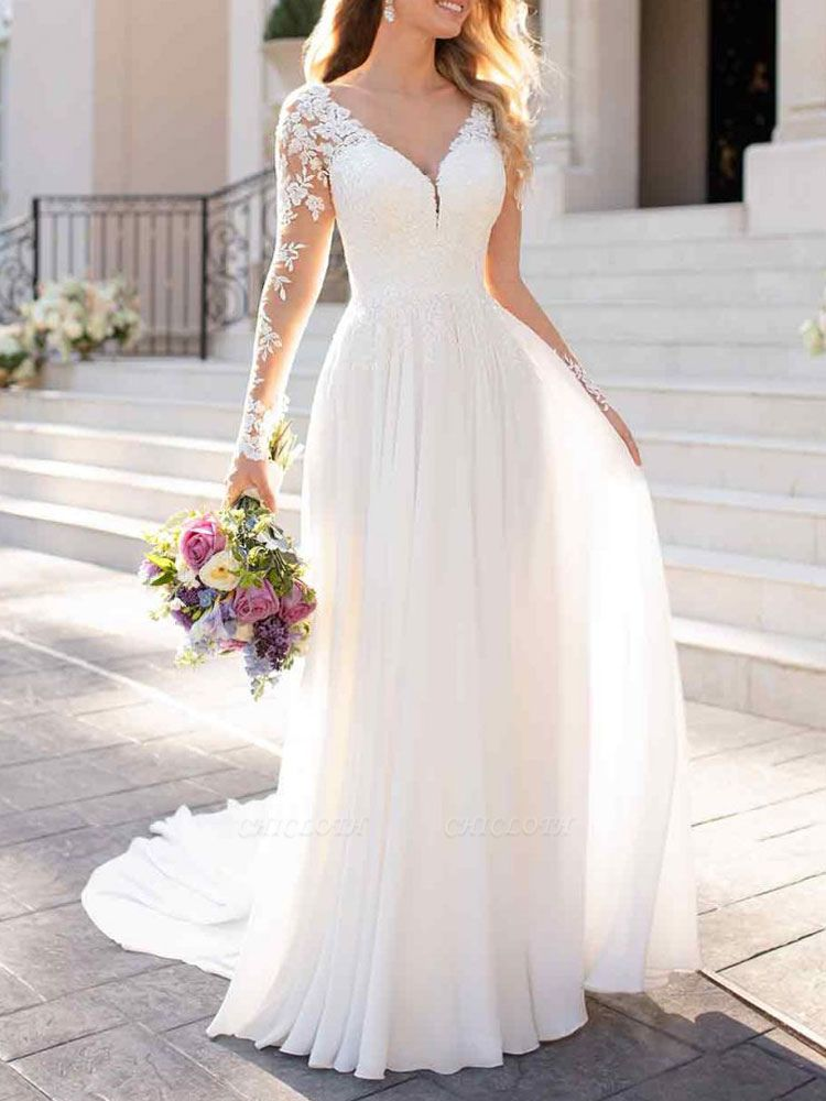 Lace Wedding Dresses 2021 Chiffon V Neck A Line Long Sleeve Lace Applique Beach Wedding Bridal Dress With Train Free Customization