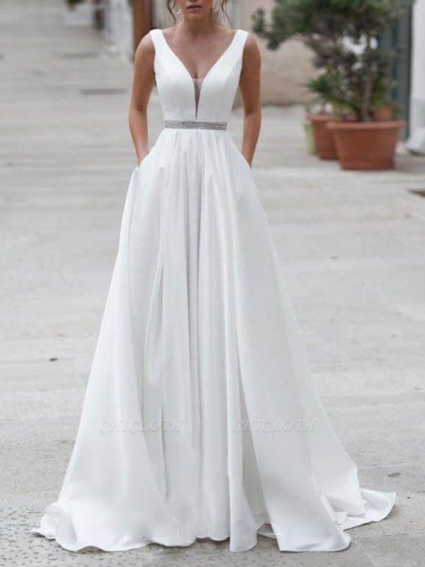 Vintage Wedding Dress A Line V Neck Sleeveless Sash Floor Length Bridal Gowns With Train