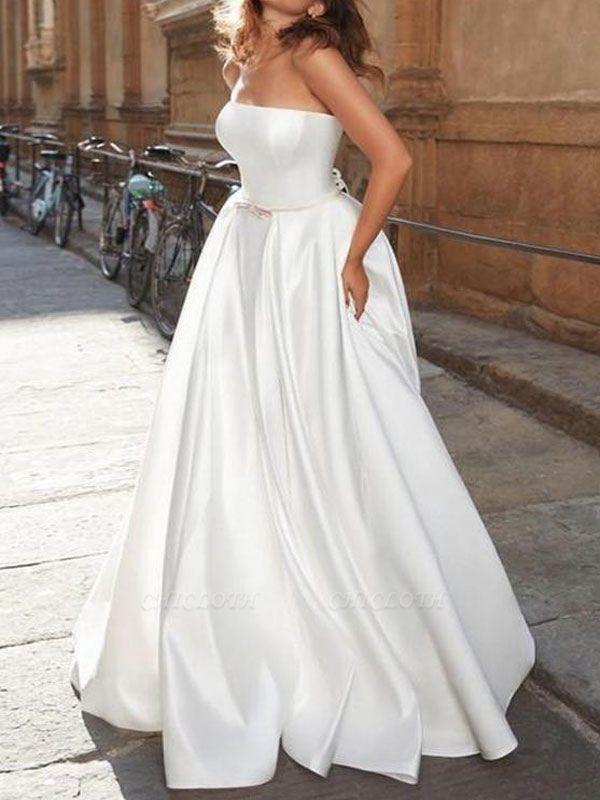 Elegant Wedding Dress Strapless Sleeveless Natural Waist Satin Fabric Floor Length Bows Traditional Dresses For Bride
