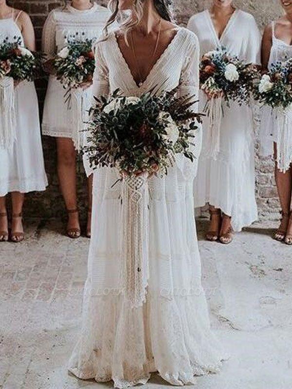 Boho Bridal Dresses 2021 A Line Deep V Neck Multilayer Lace Chiffon Beach Party Dress Wedding Gowns