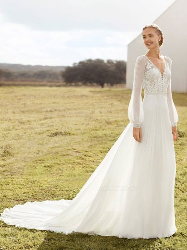 Ivory Simple Wedding Dress With Train A Line V Neck Long Sleeves Lace Bridal Gowns