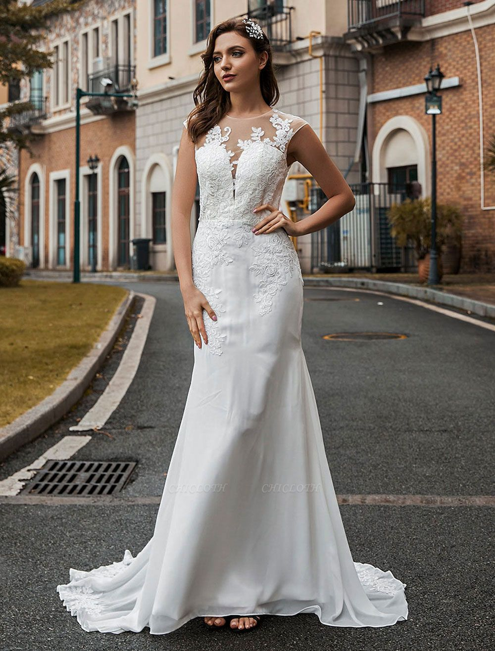 Wedding Bridal Gowns Jewel Neck Sleeveless Natural Waist Buttons Court Train Bridal Gowns Exclusive