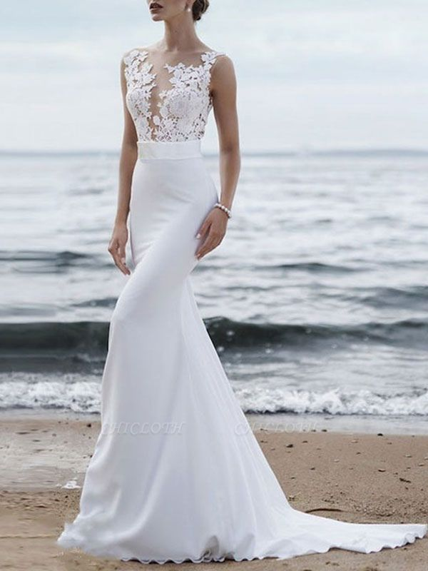 Wedding Dresses 2021 Jewel Neck Sleeveless Mermaid Beach Wedding Bridal Gowns With Sweep Train