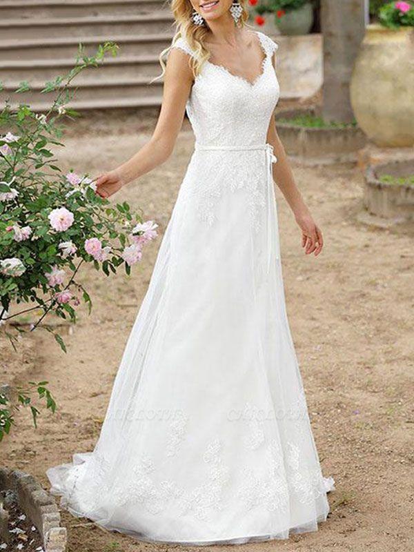 Cheap Wedding Dresses A Line V Neck Sleeveless Sash Floor Length Bridal Gowns With Train