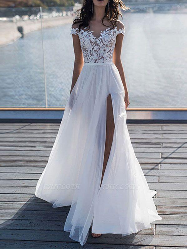 Boho Wedding Dresses 2021 With Lace Chiffon Bridal Gowns
