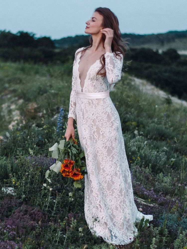 Wedding Gowns With Train A-Line Long Sleeves V-Neck Ivory Lace Bridal Gowns