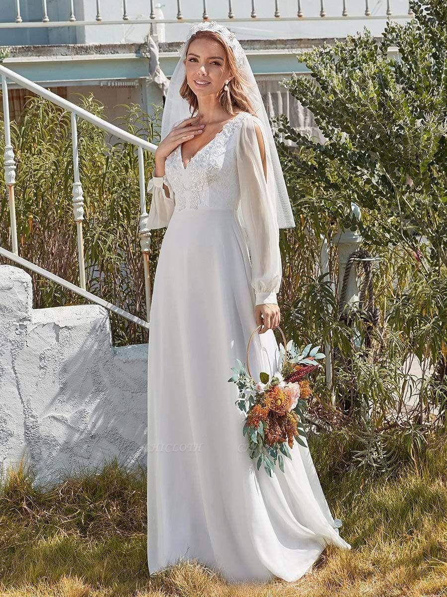 White Cheap Wedding Dress A-Line V-Neck Long Sleeves Natural Waist Chiffon Long Bridal Dresses