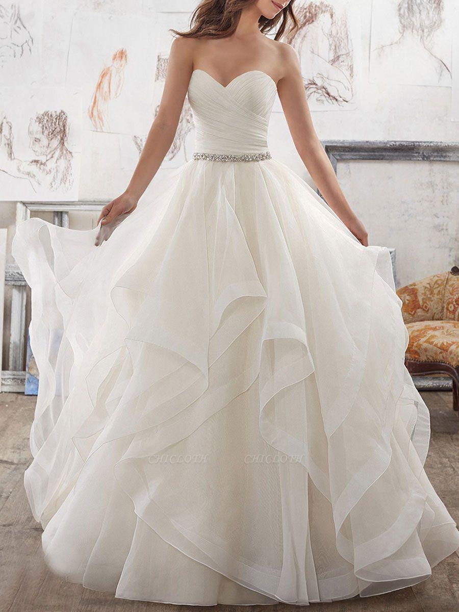 Bridal Dresses 2021 Ball Gown Sweet Heart Sleeveless Floor Length Asymmetry Hem Tulle Bridal Gown