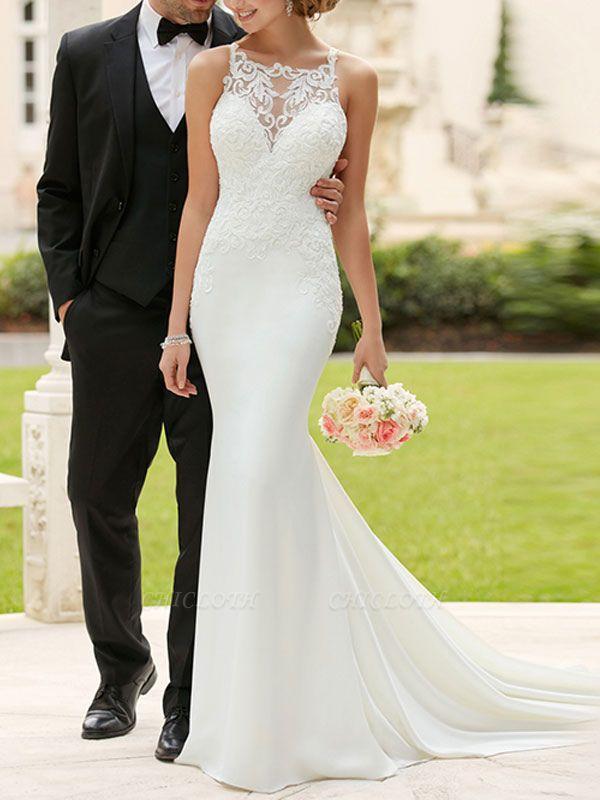 Wedding Dress 2021 Cheap Mermaid Bateau Neck Sleeveless Lace Appliqued Traditional Bridal Dresses