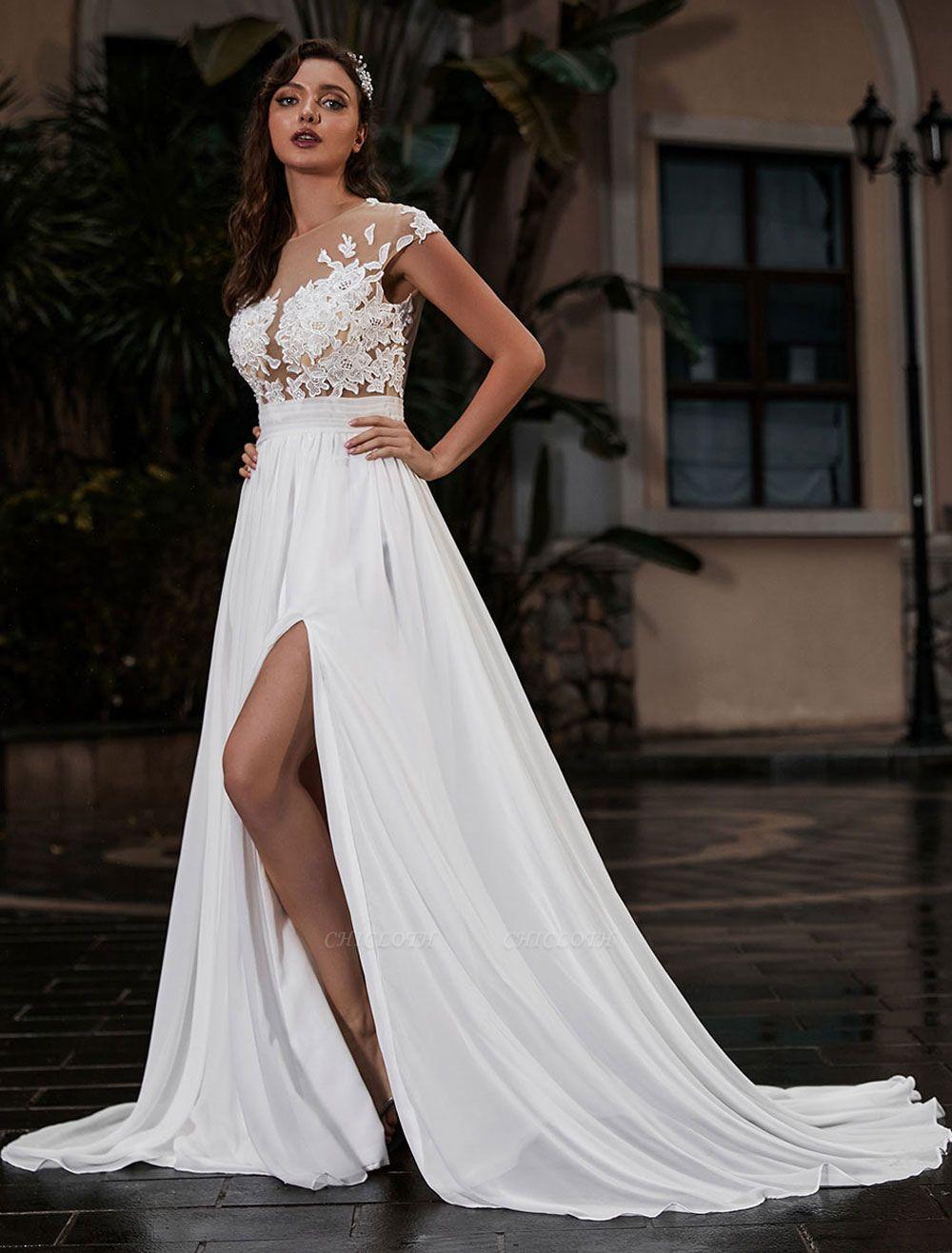 Wedding Gowns Beach A-Line Silhouette Jewel Neck Lace Bodice Chiffon Wedding Gown