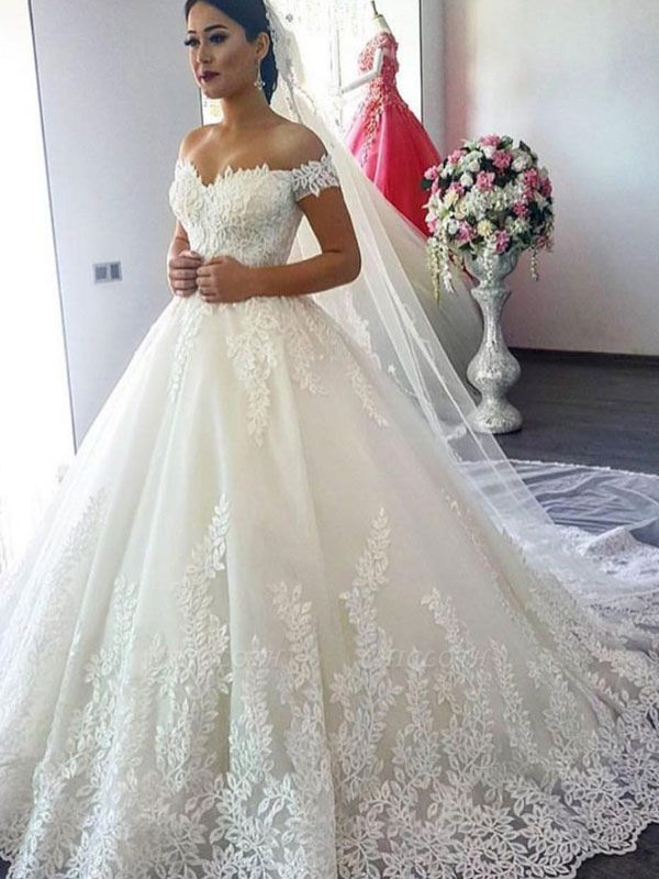 Wedding Dresses 2021 Off The Shoulder Ball Gown Short Sleeve Natural Waist Bridal Gowns With Train