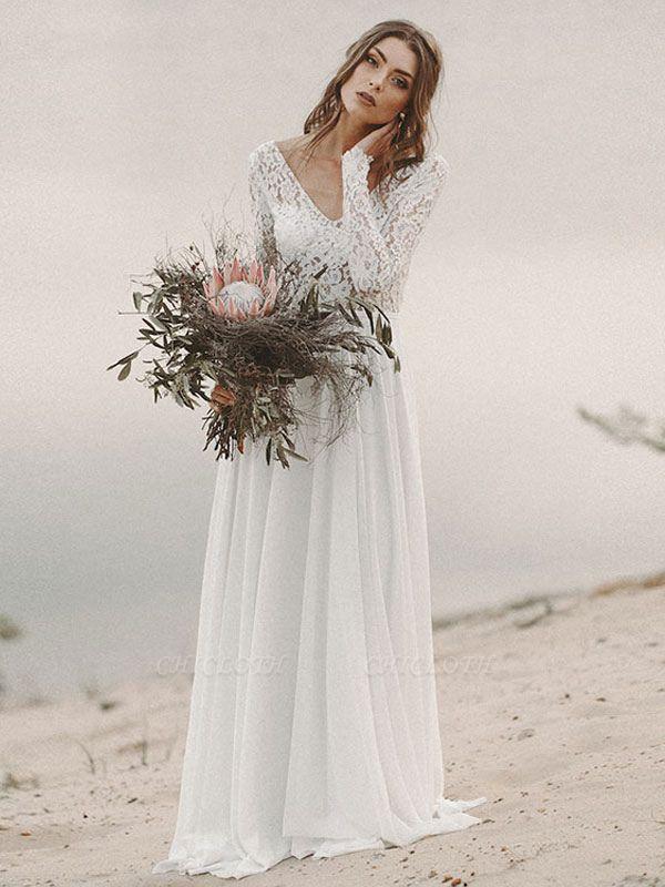Cheap Wedding Dresses A Line V Neck Long Sleeve Floor Length Chiffon Lace Beach Wedding Dresses