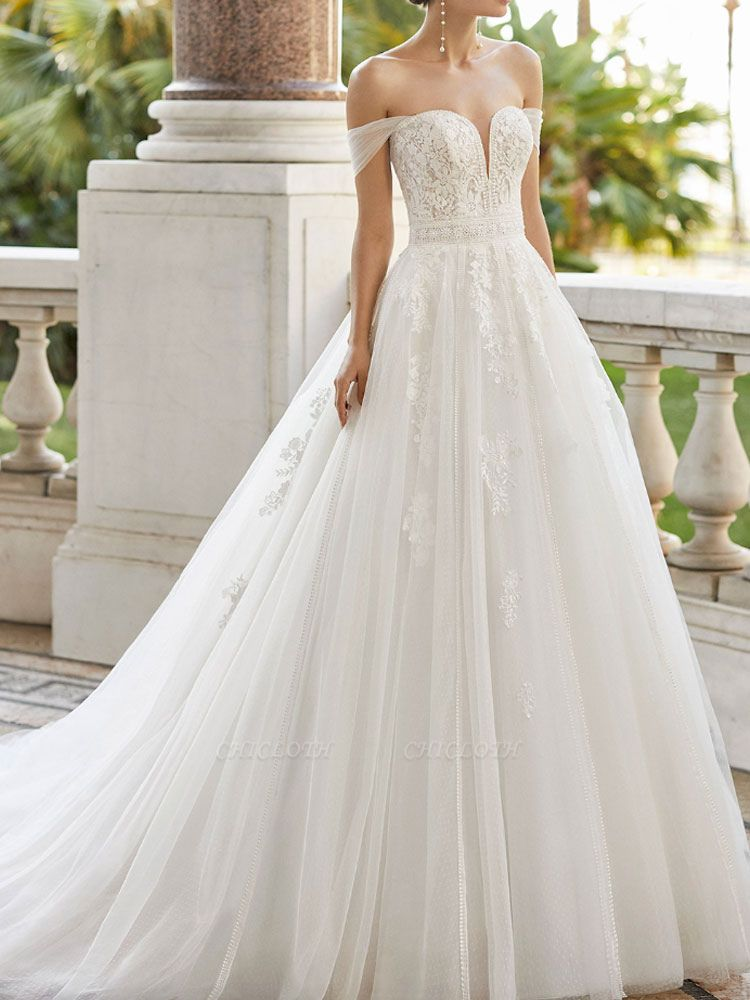 Wedding Dresses With Train V Neck Sleeveless Off Shoulder Lace Tulle Bridal Gowns