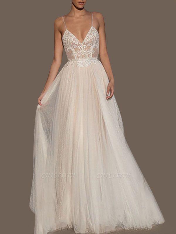 Wedding Gowns A Line V Neck Sleeveless Straps Beaded Floor Length Polka Dot Tulle Bridal Gowns