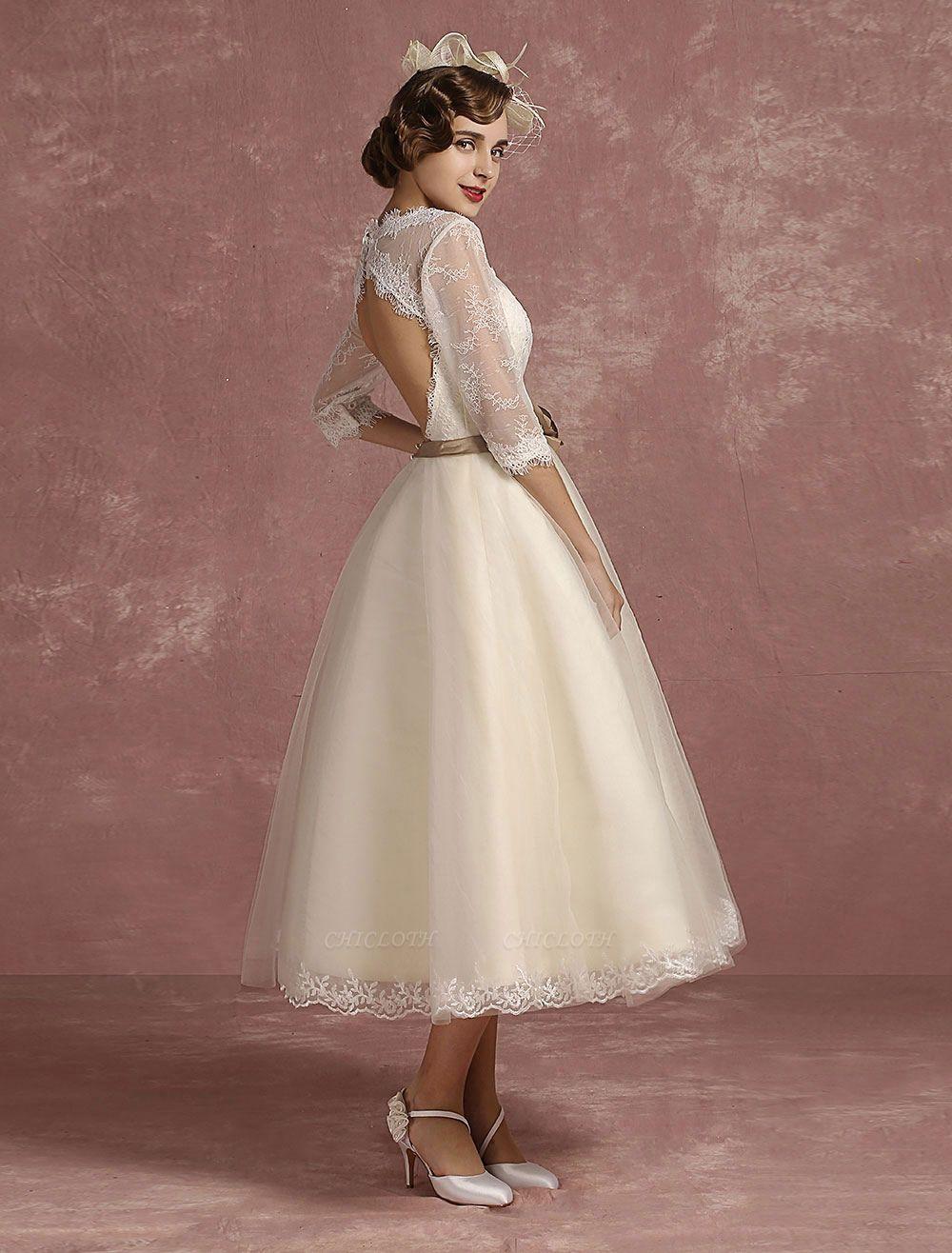 Vintage Wedding Dress Short Lace Tulle Bridal Dress Half Sleeve V Neck Backless A Line Flower Sash Tea Length Bridal Gown Exclusive