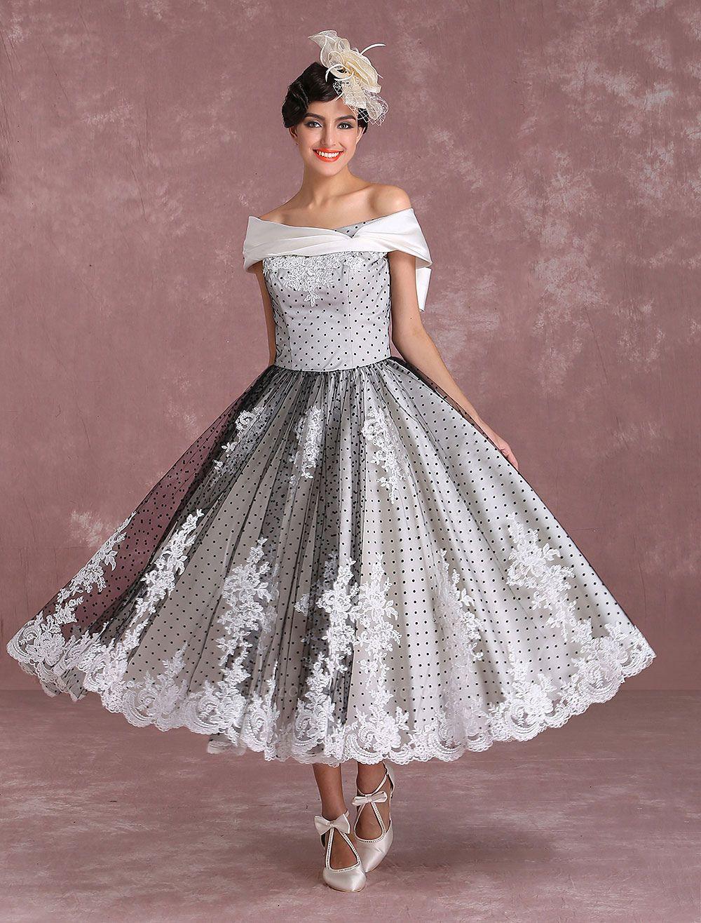 Black Wedding Dresses Vintage Short Bridal Gown Lace Off The Shoulder Polka Dot Print Bridal Dress With Bow At Back Exclusive