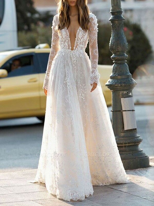 Cheap Wedding Dress A Line V Neck Long Sleeves Lace Floor Length Wedding Gowns