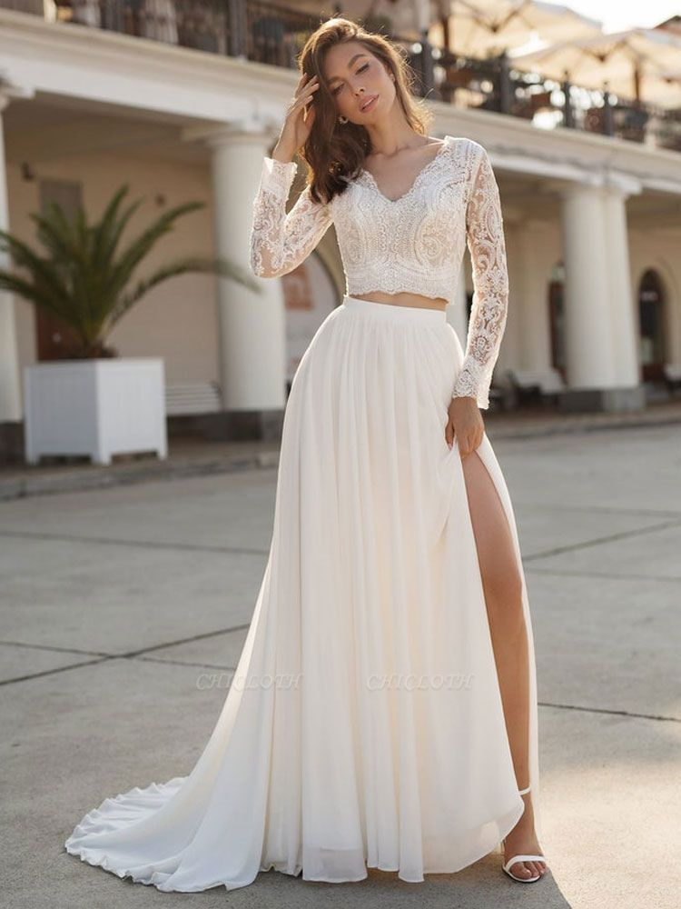 White Cheap Wedding Dress Chiffon V-Neck Long Sleeves Cut Out A-Line Split Lace Wedding Gowns