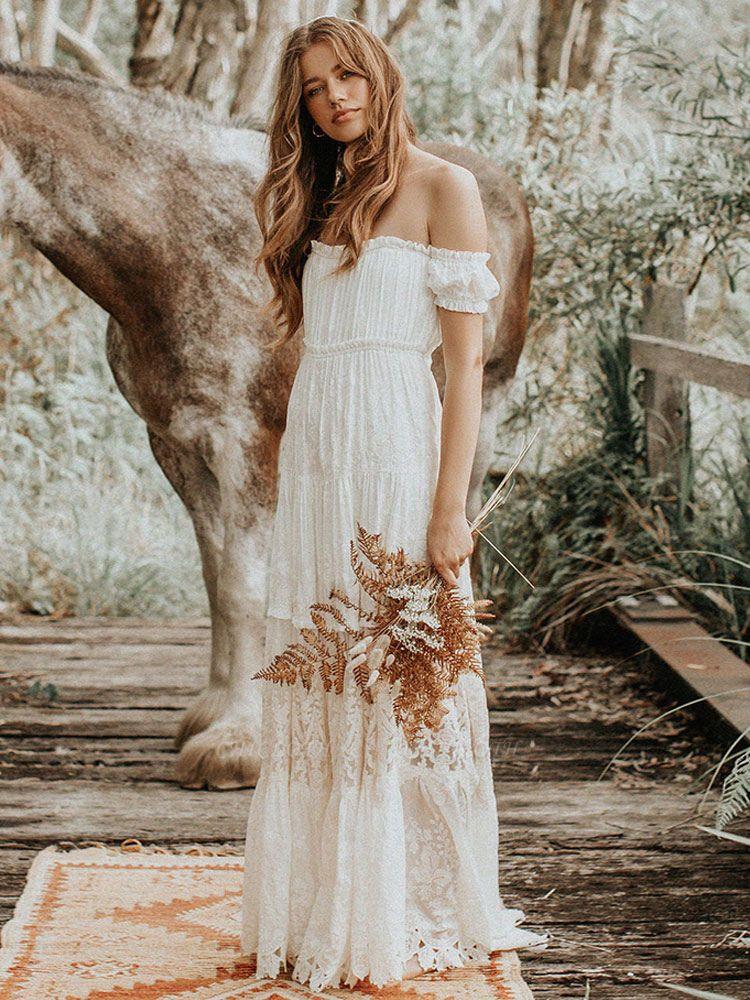 Boho Wedding Dress 2021 Lace Off The Shoulder A Line Floor Length Lace Bridal Gown