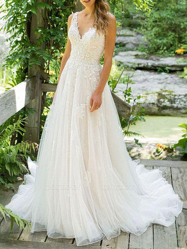 Cheap Wedding Dresses 2021 A Line V Neck Sleeveless Floor Length Beach Bridal Gowns With Train