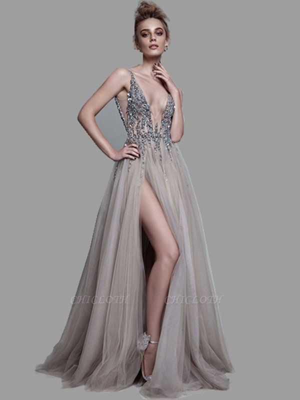 Boho Wedding Dress 2021 A Line Deep V Neck Sleeveless Straps Split Front Floor Length Prom Dresses