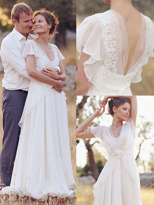 Cheap Wedding Dress A Line Designed Neckline Sleeveless Applique Chiffon Wedding Gowns