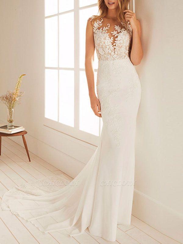 Cheap Wedding Dresses Mermaid Chiffon Jewel Neck Sleeveless Floor Length Beach Bridal Gown With Court Train
