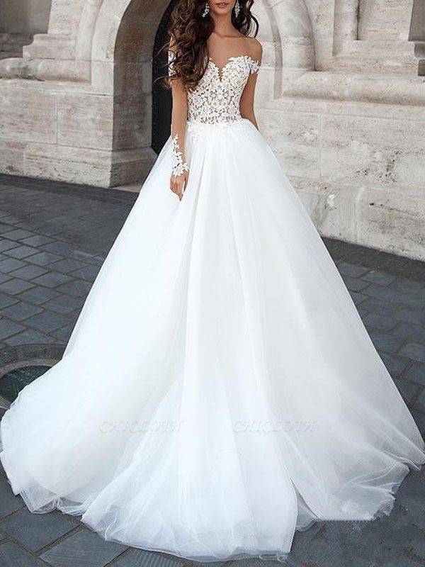 Princess Wedding Dresses 2021 Ball Gown Sweetheart Neck Long Sleeves Backless Lace Tulle Bridal Gowns With Court Train