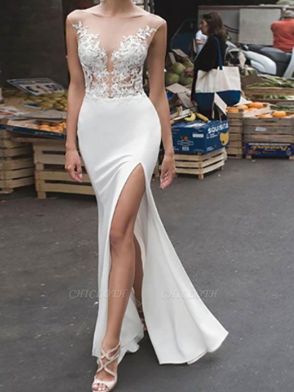 White Wedding Bridal Gowns Floor Length Sleeveless Applique Illusion Neckline Bridal Mermaid Dress Evening Gown