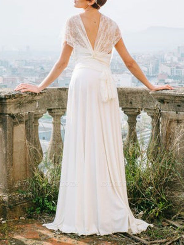 Simple Wedding Gowns Sheath V Neck Sleeveless Pleated Floor Length With Train Lace Wedding Dresseses