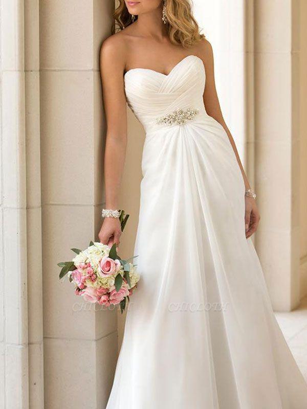 Cheap Wedding Dress Sheath Sweetheart Neck Sleeveless Pleated Bridal Dresses With Train