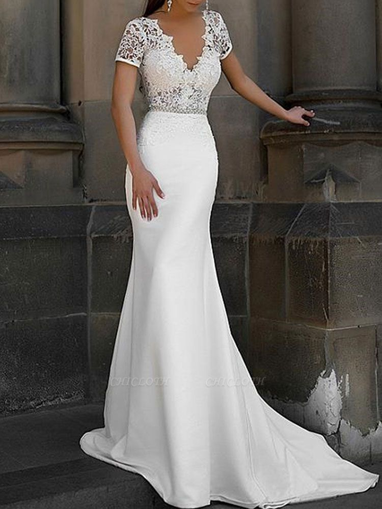 Cheap Wedding Dress Mermaid Lace V Neck Short Sleeves Beaded Sash Bridal Dresses With Train