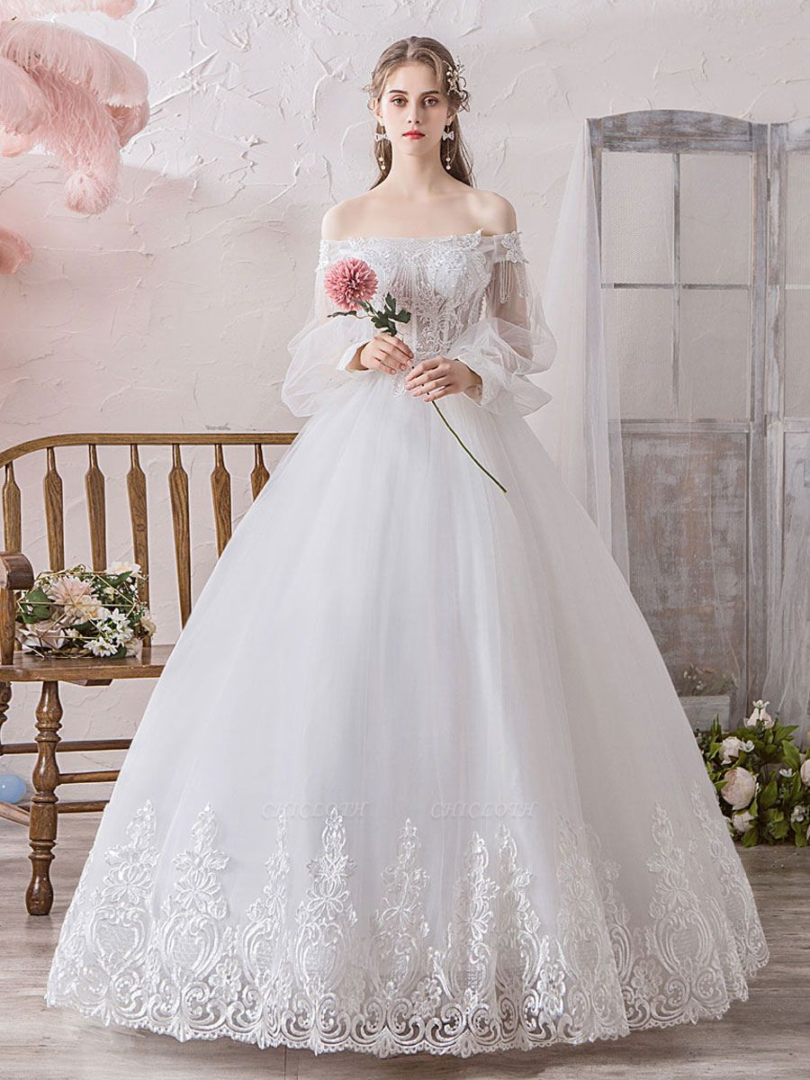 Princess Wedding Gowns 2021 Ball Gown Silhouette Off The Shoulder Long Sleeves Natural Waist Floor-Length Bridal Gowns