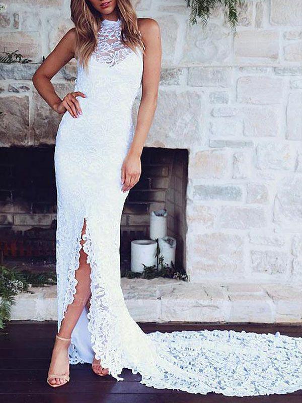 Boho Wedding Gowns Mermaid High Cpllar Halter Sleeveless With Train Split Lace Bridal Dress