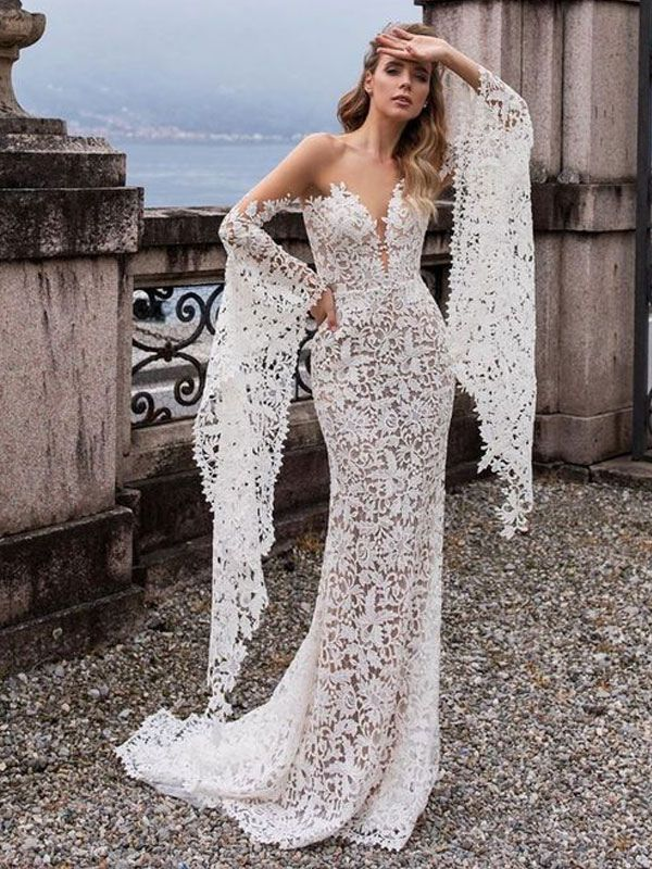 Lace Wedding Dress Mermaid Wedding Dress V Neck Long Sleeve Sexy Bridal Gowns