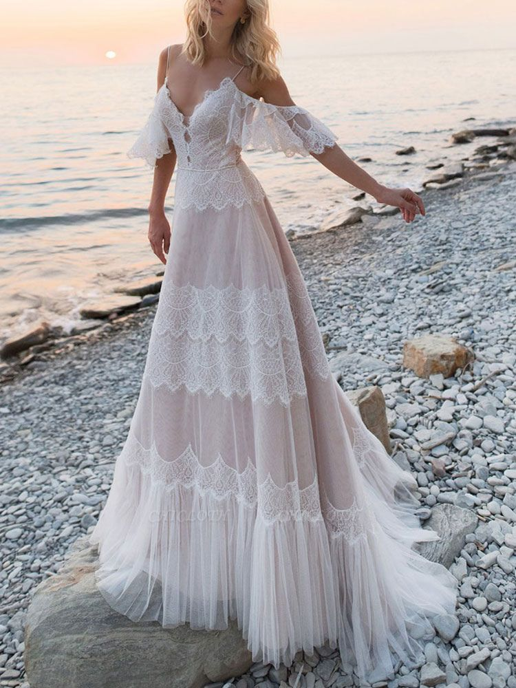Boho Wedding Dresses 2021 A Line Deep V Neck Straps Lace Short Sleeve Bridal Gown For Beach Wedding With Sweep Train