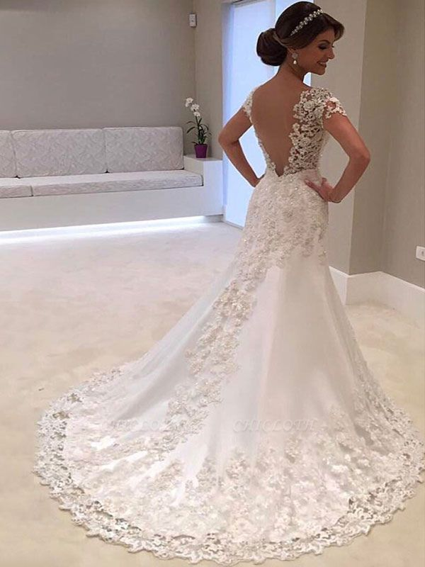 Bridal Dresses 2021 V Neck Short Sleeve Sheath Deep V Backless Lace Beaded Wedding Gowns With Train