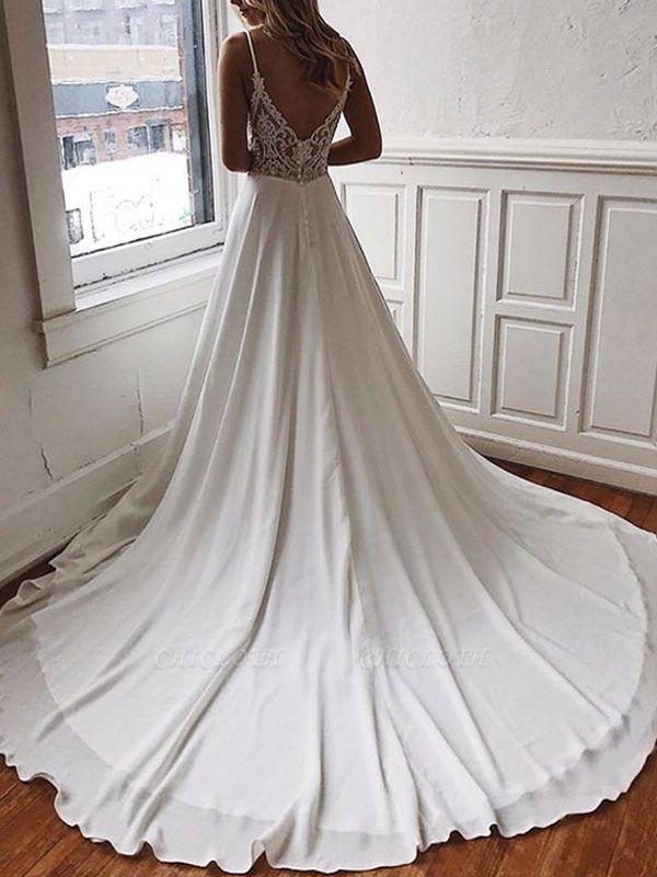 Simple Wedding Dress A Line V Neck Sleeveless Straps Back Lace Boho Bridal Dresses With Train